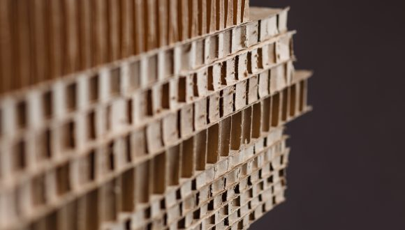 Brown corrugated cardboard texture сlose up